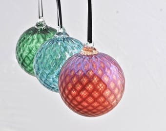 Set of Three Hand Blown Ornaments (Jewel Collection): Winter Set of Three Hand Blown Glass Christmas Ornaments