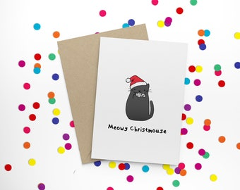 Meowy Christmouse - funny, cute, hand illustrated, cat and mouse character, non-traditional, Christmas card