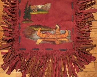 Vintage 1920-30s Native American Handmade Souvenir Suede Pillow cover from Winnipeg Canada