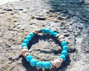 Turquoise with wooden beads