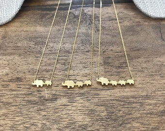 Elephants with Babies Gold Necklace