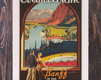 Canadian Pacific Banff Vintage Travel Ad, Canadian Rockies ,  Travel Art, Canada Ad,  Vintage Art,  Giclee Art Print, fine Art Reproduction