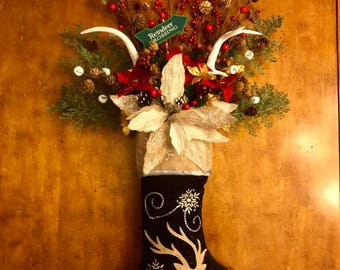 Christmas Stocking, Christmas Stocking with Flowers, Reindeer Christmas Stocking, Christmas Decoration, Christmas Floral Arrangement, Rustic