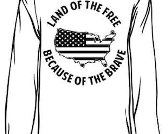 Veteran Long Sleeve - Land of the Free Because of the Brave