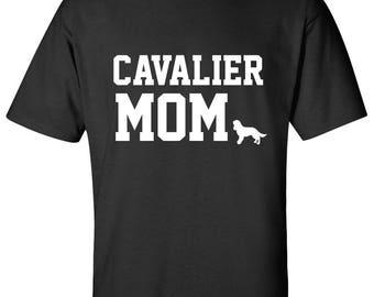Cavalier King Charles Spaniel Dog mom 100% Cotton Graphic Logo Tshirt