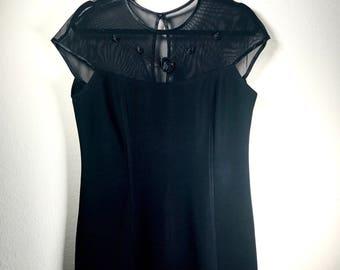 Black Rose Mesh Dress