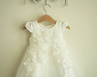 White Satin, lace and tulle Christening Gown! Baptism gown baby girl