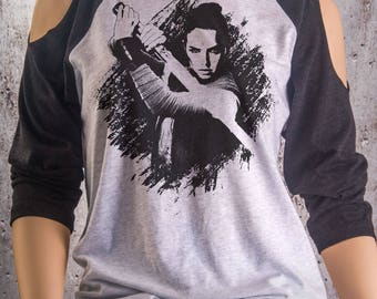 Buy 2, Get 1 FREE Tshirt Rey Star Wars Cold Shoulder Shirt in Heather Triblend. The Force Has Awakened!