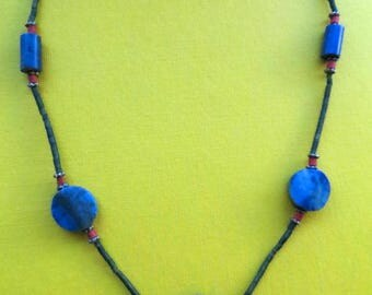 Dainty Necklace of Natural  Lapis Lazuli Discs Accented by Coral Beads, Silver Beads, and Deep Green Tubes