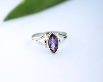 Amethyst Ring, Amethyst Gemstone Sterling Silver Ring, Dainty Ring, February Birthstone, Purple Stone Ring, Engagement Ring, Promise Ring
