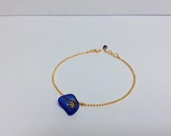 Poppy Blue - Navy gold ball chain bracelet