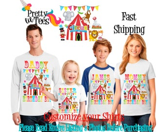 CIRCUS Birthday BOY Theme Family WHITE Shirts For the Entire Family Mom Dad Brother and More T-shirts Long/ Short sleeve Raglan carnival