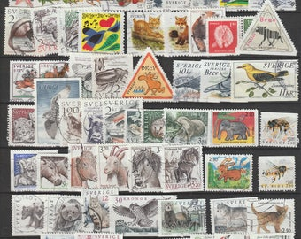 Sweden 80 Animal postage stamps used