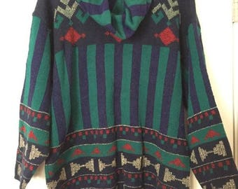 Large Swoop-Neck Printed Sweater