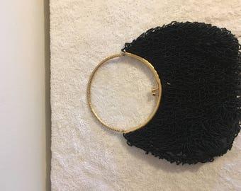 Vintage Black Sequin & Gold Evening Bag