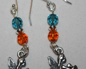 Silver earrings and crystals of SWAROVSKI magic