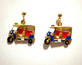 Thai Created Handmade TukTuk 3 wheels Souvenir Gift earrings