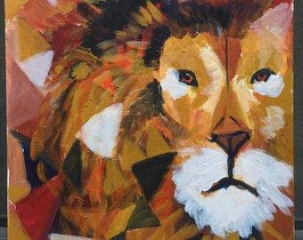 Lion Painting on Canvas - Animal Painting - Safari Painting - Wildlife Painting - African Animal Painting - Lion Portrait
