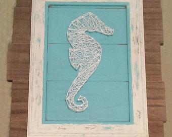 Seahorse Nautical String Art