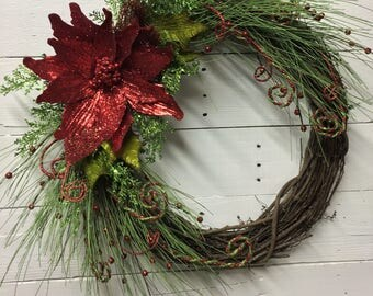 Red Glitter Poinsettia Christmas Wreath