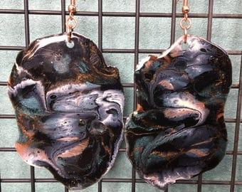Sparkly Epoxy Earrings - Black, Teal, Burnt Orange, Cream