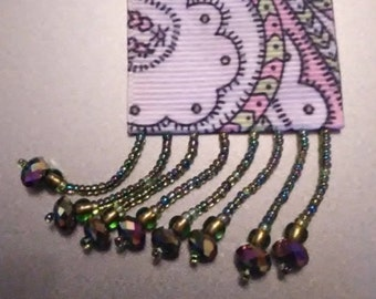 Iridescent Beaded Rose & Lime BeautyMarkz Bookmark