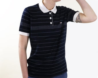 Navy and White Striped FILA Polo T Shirt// Made in Italy// Size 10