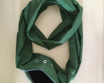 Sugar Glider Bonding Scarf Double Loop - Sugar Glider Bonding Pouch - Glider Carry Pouch - Bonding Bag - Rat Bonding Pouch - Green Cotton