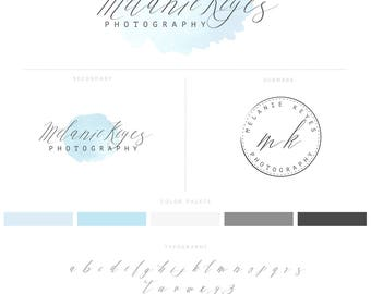 Watercolor Logo Design with Baby Blue Logo and Photography Watermark, premade Logos, Branding Package 012