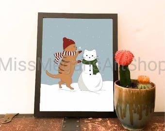 Kitten In The Snow Digital Art Print