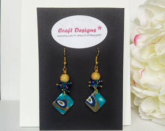 Earrings turquoise and gold polymer clay