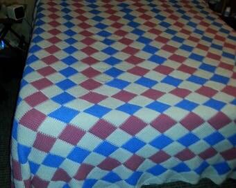 Hand crocheted Tunisian stitch bedspread