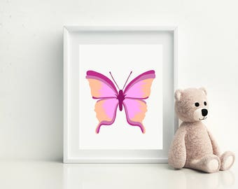 Printable  Pink and Orange Butterfly,Girls Nursery Decor,Butterfly Artwork,Baby Room Decor,Printable Kids Gift,Digital Wall Decor
