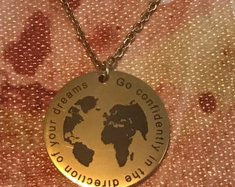 Go confidently in the direction of your dreams Quote GOLD Engraved Stainless Steel Pendants