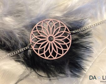 "Bracelet ""Rosace"", pastel pink color"