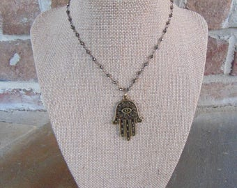 Pyrite Hand Necklace