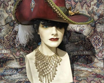 Dark  red leather pirate hat