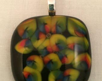 Rainbow swirls abstract pendant