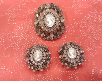 Signed Vintage Hobe Cameo Brooch and Earring Set
