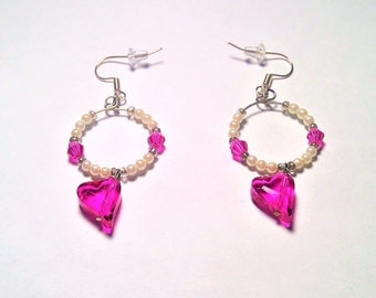 Small Pink & White Pearl Hoop with Dangling Pink Heart Charms