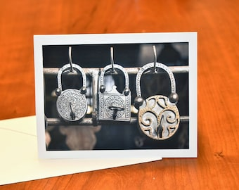 Metal Lock Card, Greeting Card with Morocco Photo, Blank Card with Envelope All Occasion Card, Fine Art Photography Card, Lock Photo Card