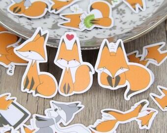 Fox - Mixed Sticker Set - Scrapbooking Sticker bombing Graffiti Personalisation Cute Happy Bright Cartoon Colourful Woodland Animal