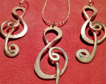 VIOLIN KEY Set earings-neacklace aluminum