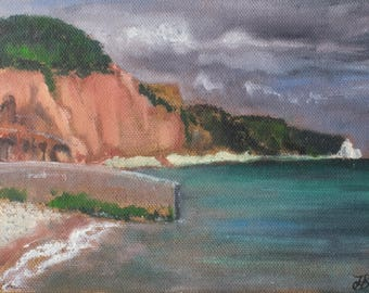Sidmouth, small unframed original oil painting, canvas board 5x7""