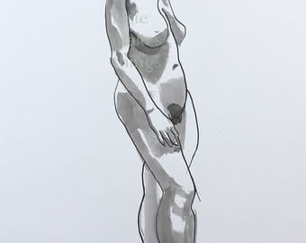 Ink Painting Standing Original Art Sumi