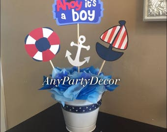 Ahoy It's A Boy Baby Shower Centerpiece Set (Cut outs on sticks only)