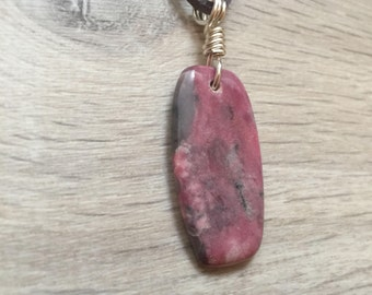 Pink Rhodochrosite Natural Stone Cabochon Pendant Necklace