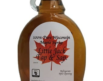 Maple Syrup 100% Pure All Natural Grade A (12oz) Pure Maple Syrup from Wisconsin! Little Jack Tap & Sap! Gluten Free, Non-GMO, No additives