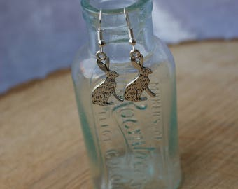 Hare/Rabbit Earrings, Drop Earrings, Tibetan Silver