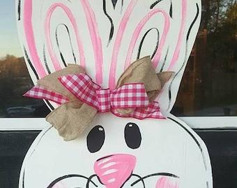 Easter bunny wood or burlap door hanger